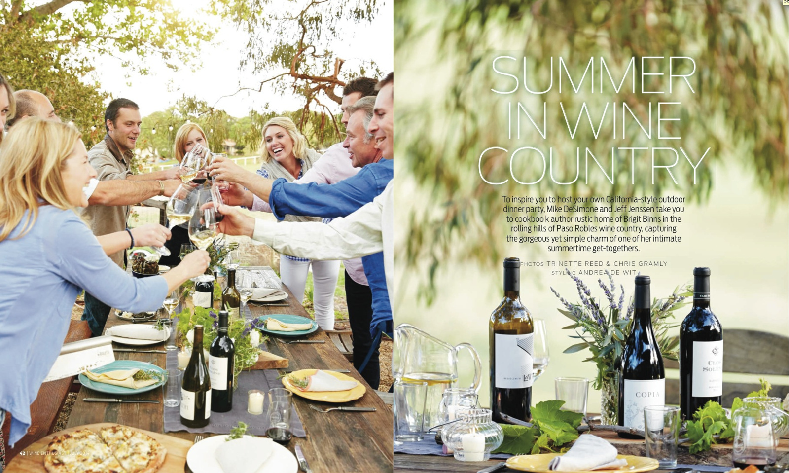 Wine Enthusiast Magazine Article  | Trinette+Chris Photographers
