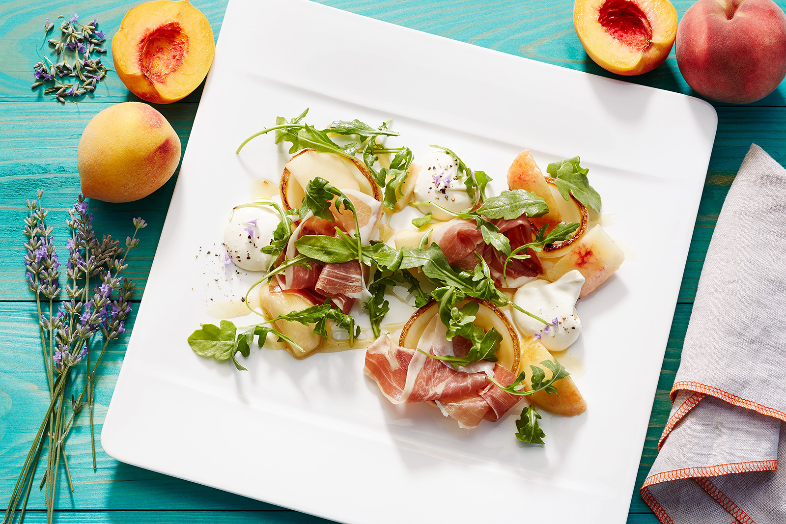 Peach salad at Solbar, Napa, CA  | Trinette+Chris Photographers