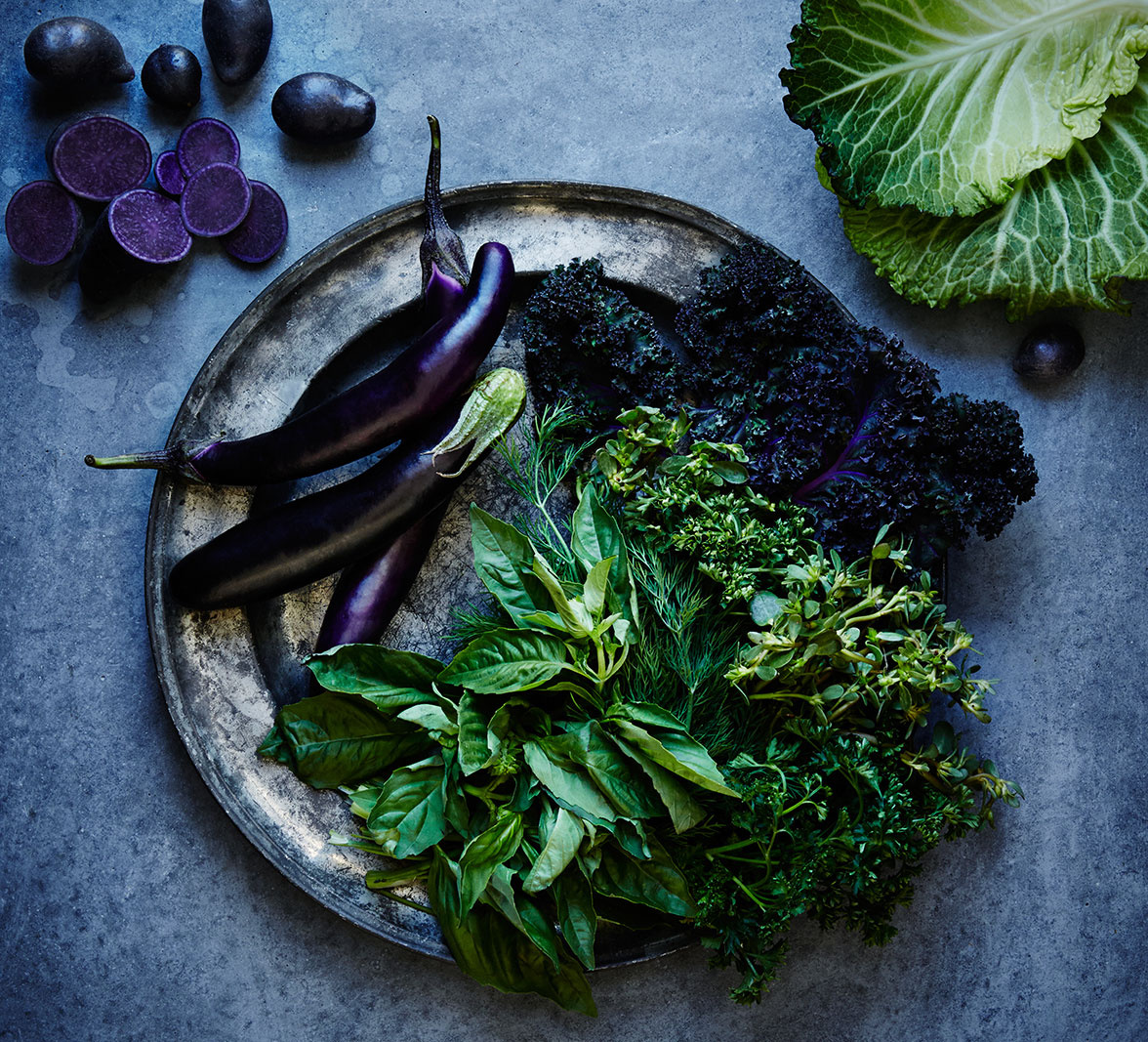 Food still life of kale and eggplant  | Trinette+Chris Photographers