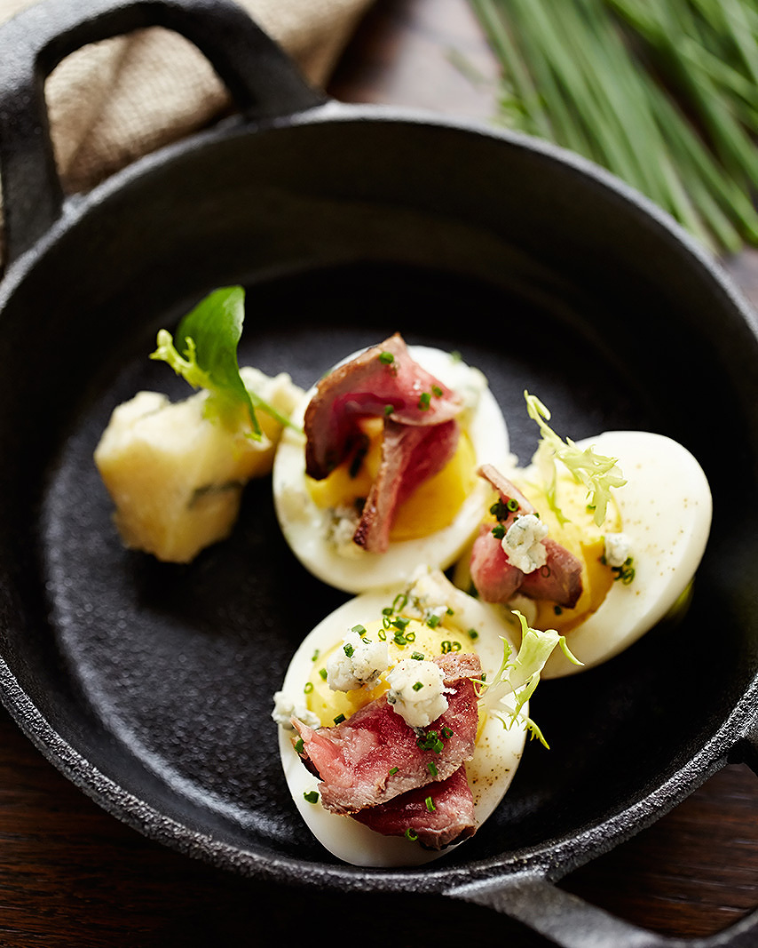 Deviled eggs at Avant restaurant  | Trinette+Chris Photographers