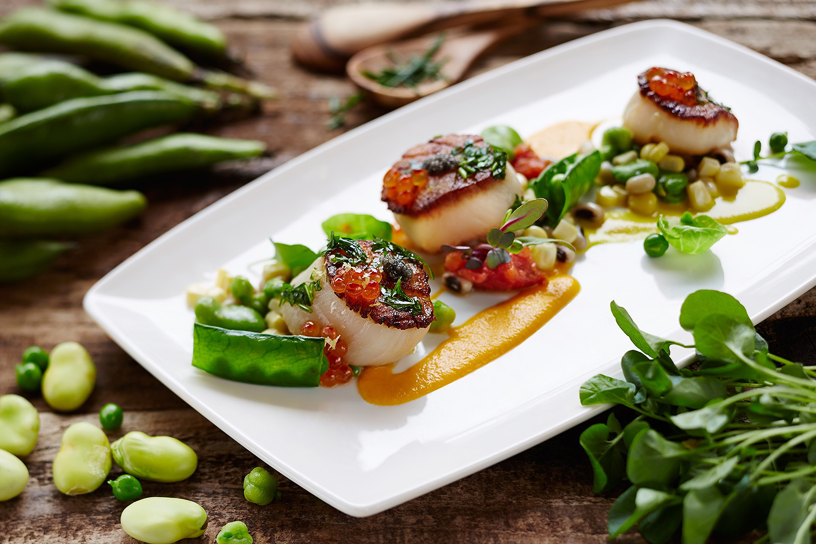 Scallops at Avant restaurant  | Trinette+Chris Photographers