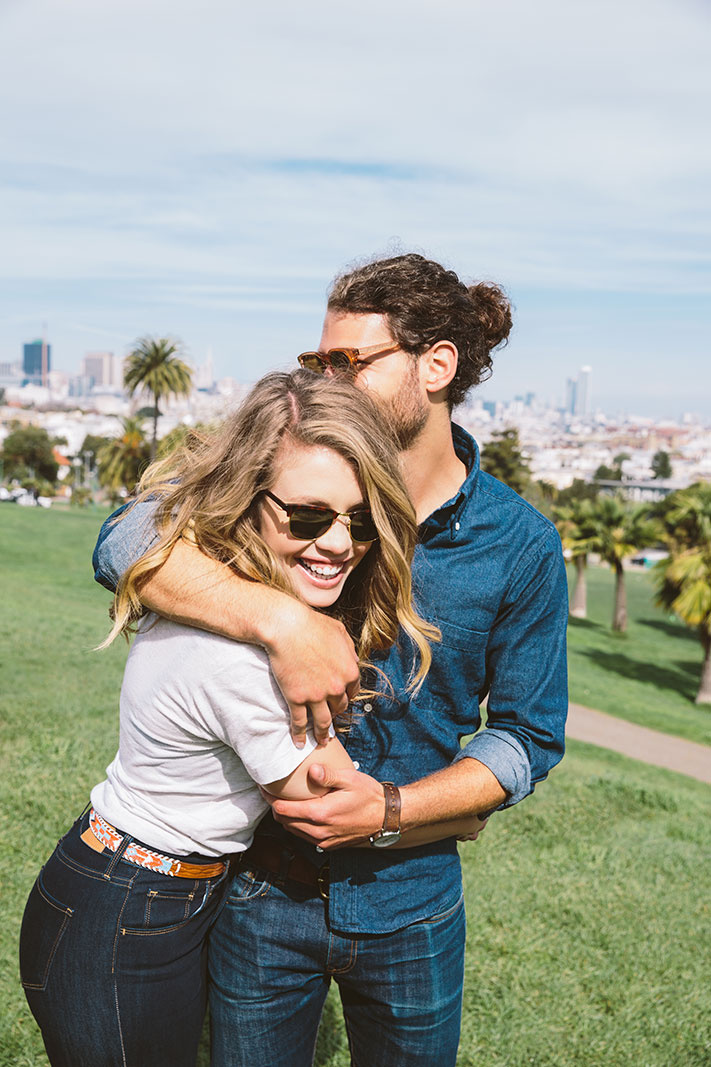 Couple at park in San Francisco, CA  | Trinette+Chris Photographers