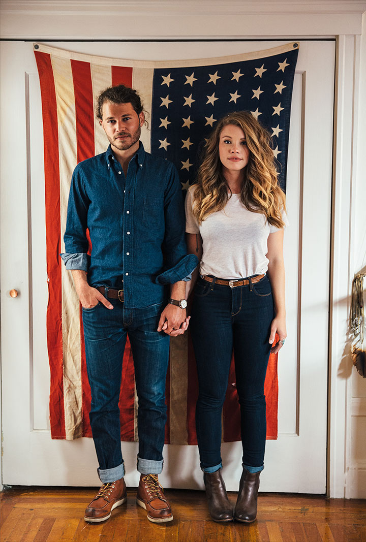 San Francisco couple in front of flag  | Trinette+Chris Photographers