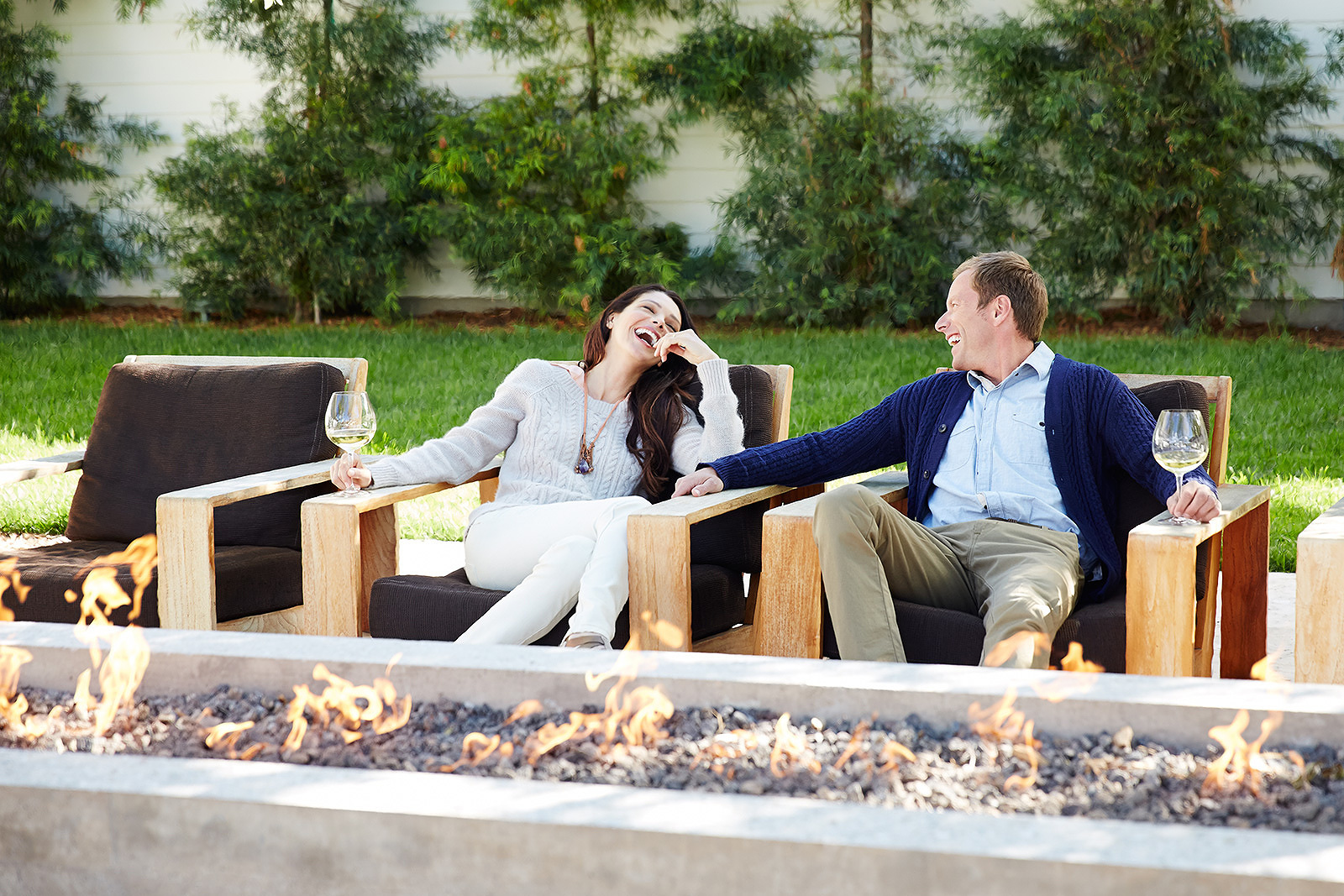 Fire pit at Solage resort in Napa Valley, CA  | Trinette+Chris Photographers