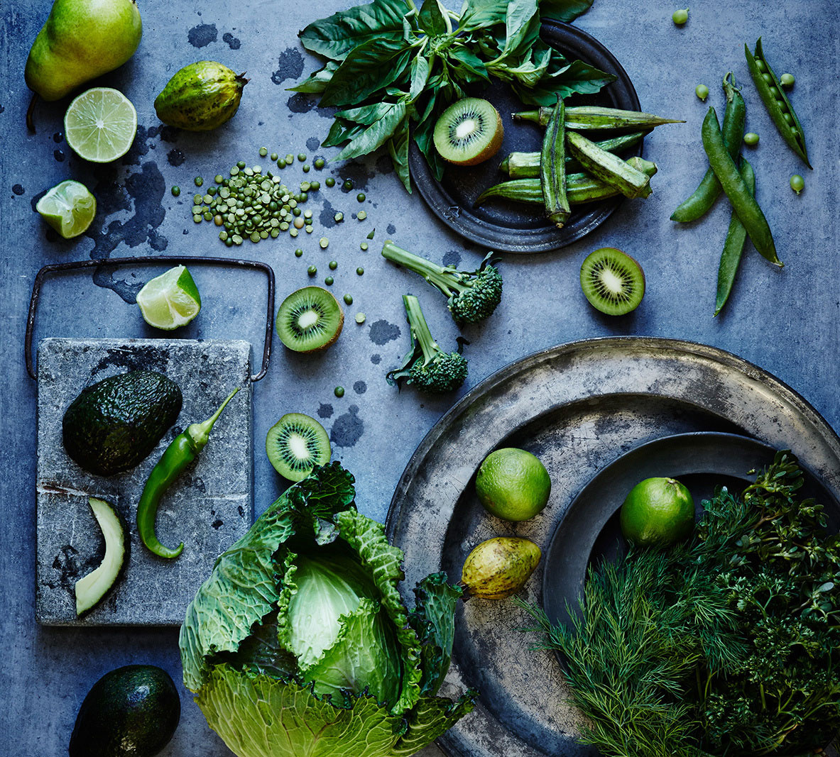 Green food still life on concrete background  | Trinette + Chris Photographers